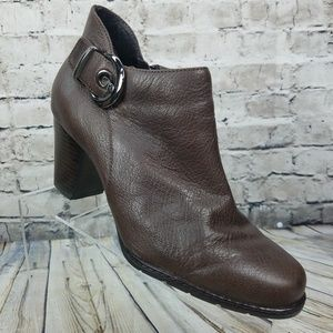 CLARKS  Buckle Strap Side Zip Brown Ankle Boot 10M